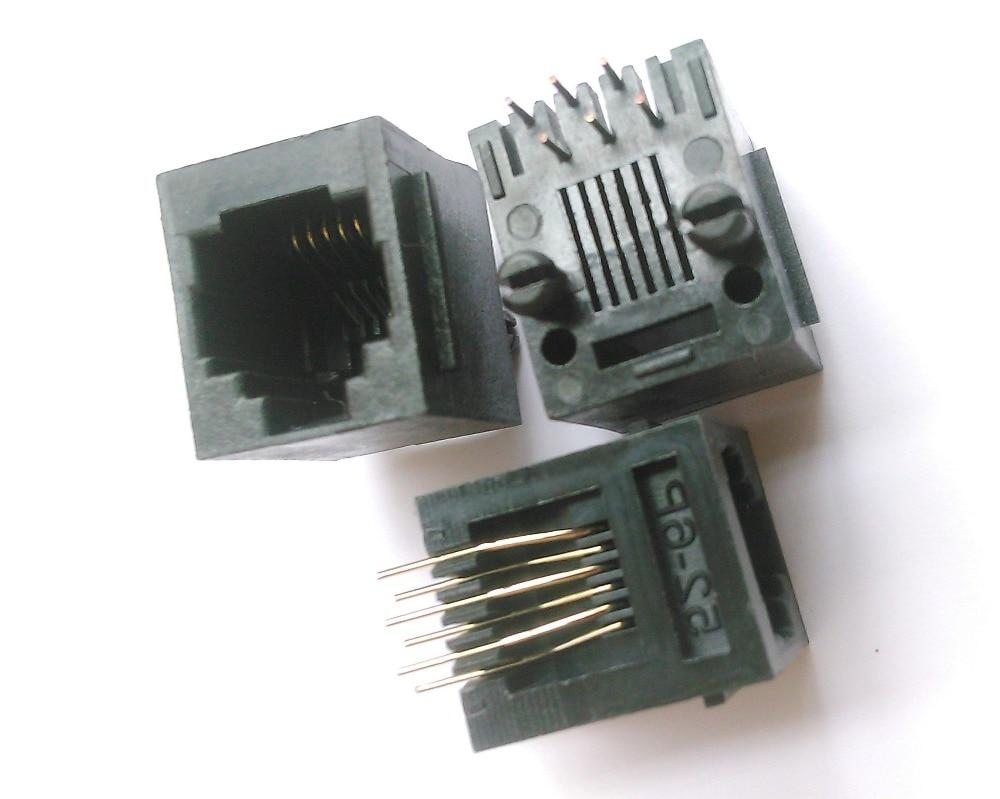 50 Pcs RJ11 Modular Network PCB Jack Connector 5222 6P6C 24 pcs rj45 modular network pcb jack 56 8p w led 4 ports