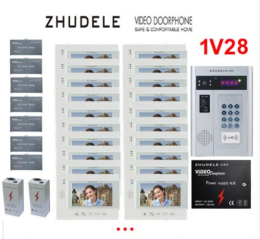 ZHUDELE Building Home security intercom system 28 Units Apartment Video Door Phone Bell Intercom System 7 TFT monitor IN STOCK