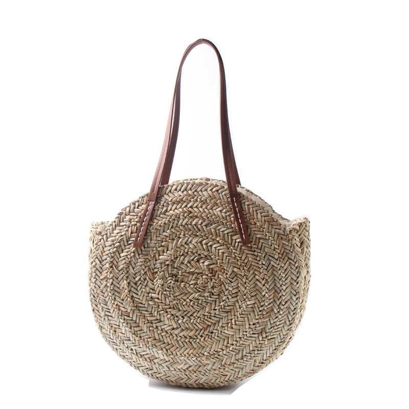 Mode Runde Stroh Taschen Rattan Frauen Schulter Taschen Casual Wicker Woven Handtaschen Marokkanischen Palm Korb Strand Tasche Sommer Große Tote