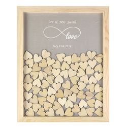 Personalised Wooden Drop Top Frame Wedding Guest Book Love Forever Rustic Alternative Unique 60 or 130Pcs Hearts Decor