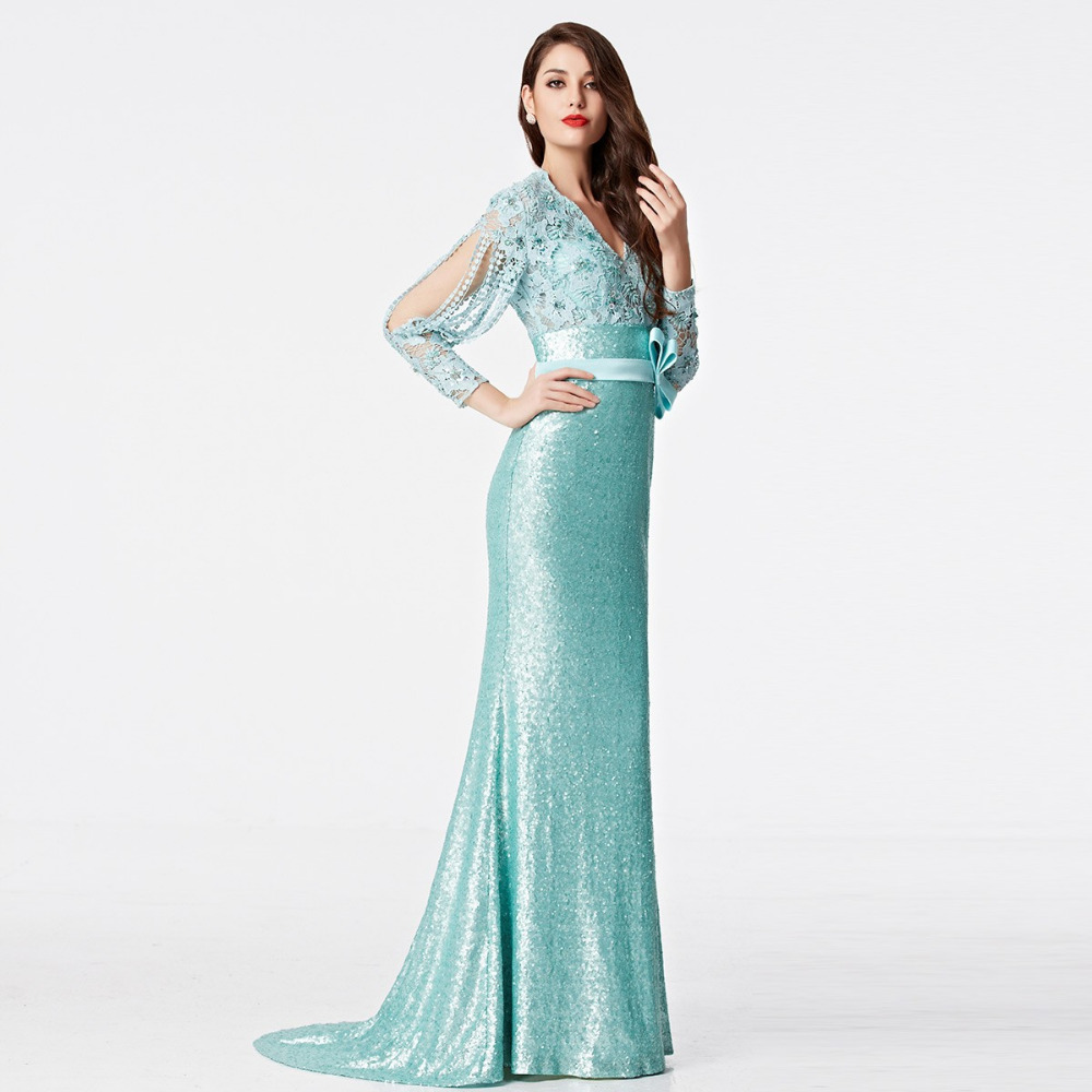 Coniefox 31155 Sparkly Blue Evening Gowns Sheer Dress Elegant ...