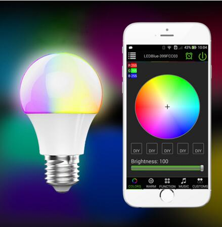 Bluetooth 4.0 LED Bulb Smartphone App Remote Control E27 RGBW Led Lamp Light Bombillas Led Sleeping Mode Smart Home Lighting
