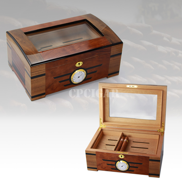 High End Cedar Wood Glass Display Cigar Humidor Case