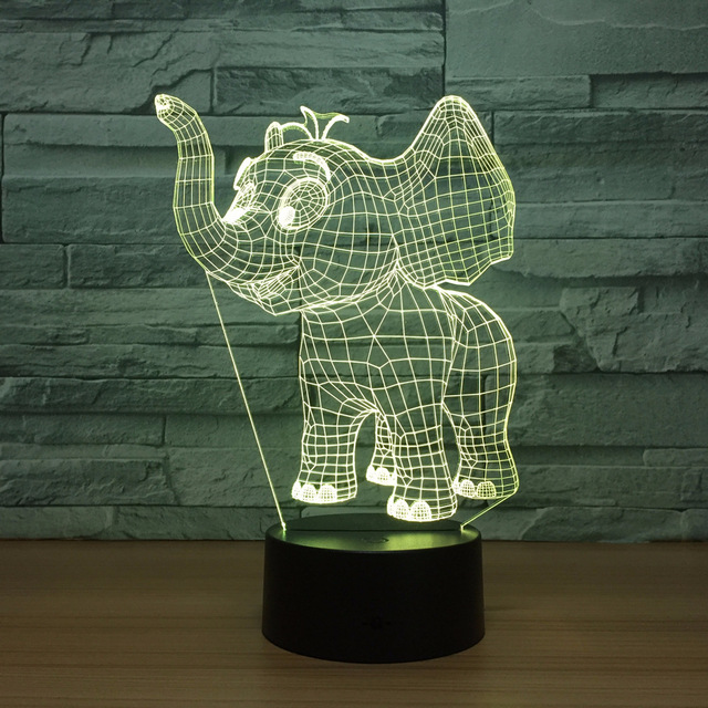small elephant acrylic 3d colorful night lights usb plug in creative gifts wholesale christmas decorations gift