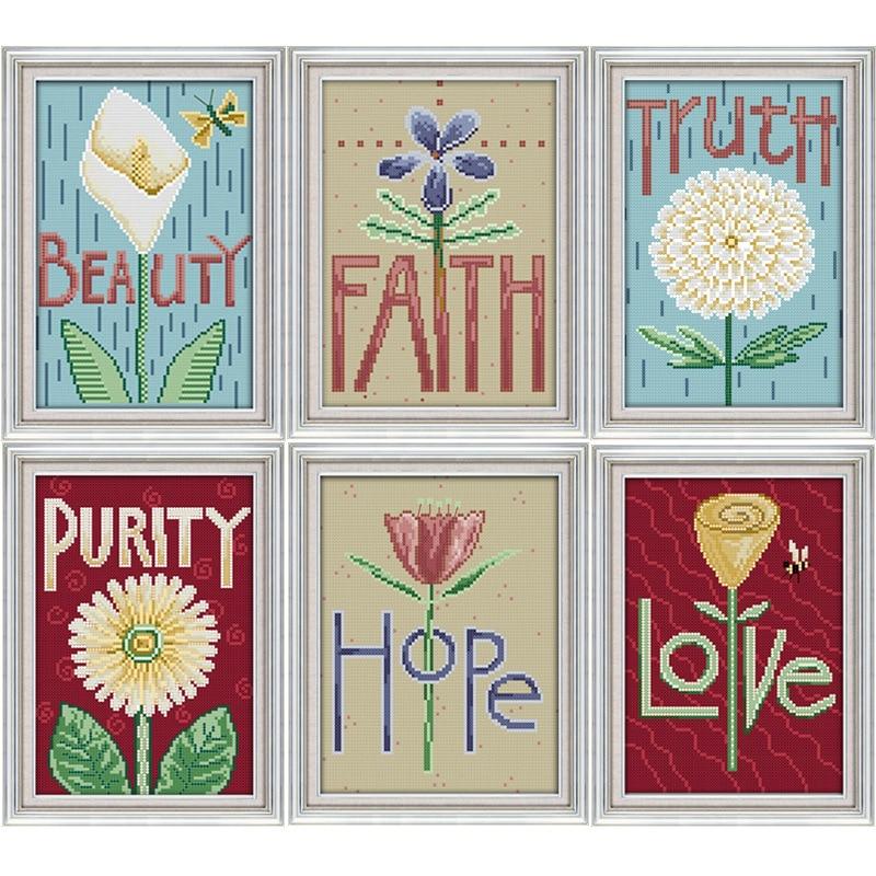 Joy Sunday The flowers of Faith cross stitch pattern kits handcraft make embroidery with chart