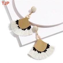 New Handmade Ethnic Bohemian Tassel Earrings for Women Bead Long Rope Fringe Sector Drop Dangle Statement Party Jewelry