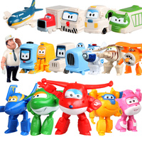 18pcs/lot Newest 3.5cm Super Wings Mini Figures Toys Superwings Q Version Cute Mini Airplane Robot for Birthday Gift toy