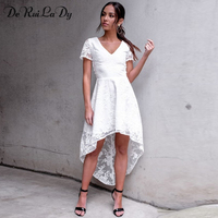 DeRuiLaDy Women Summer Elegant Maxi Dress Fashion V Neck Short Sleeve Back Hollow Sexy Lace Dresses