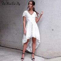 DeRuiLaDy Women Summer Elegant Maxi Dress Fashion V Neck Short Sleeve Back Hollow Sexy Lace Dresses