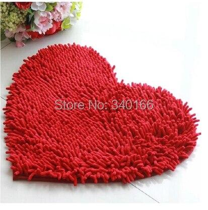 40 * 50 센치 메터 -2 개 현대 심장 모양 마이크로 화이버 셔닐 카펫 심장 쿠션 얽히고 설킨 매트 폐기물 흡수 미끄럼 방지 패드 13 색