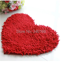 40*50cm-2pcs Modern Heart Shape Microfiber Chenille Carpet Heart Cushion Shaggy Mats Waste-absorbing Slip-resistant Pad 13Colors