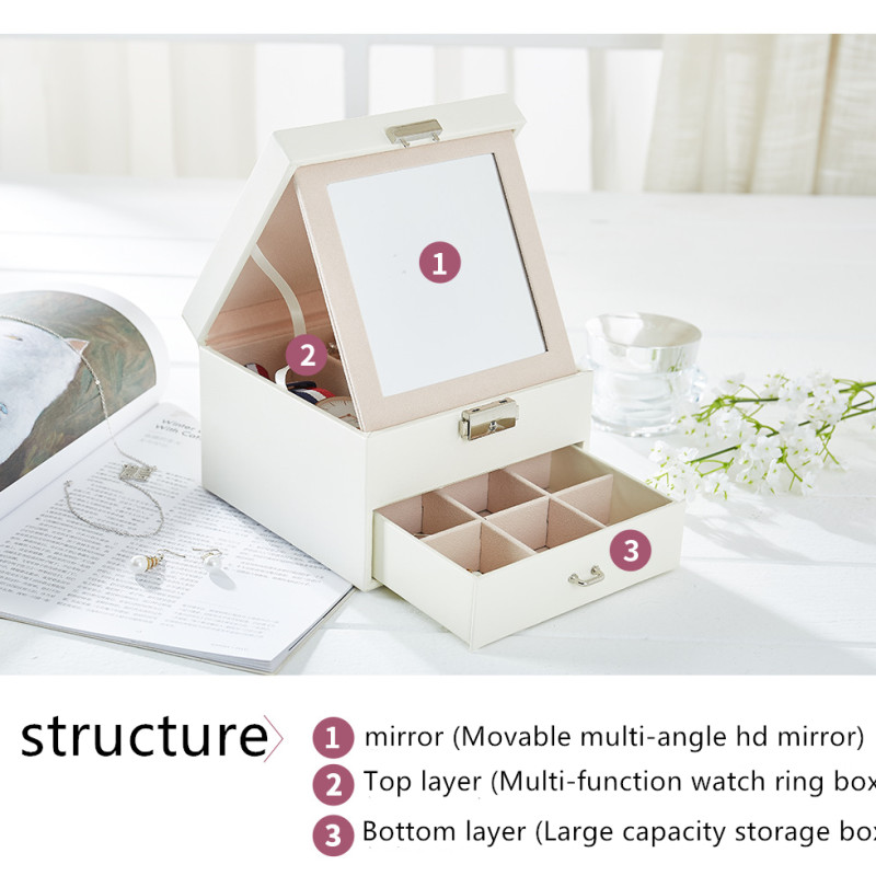 free shipping Fashion Design Leather Jewelry Box Jewelry Case Jewelry Package Storage Large Space Jewelry Ring Necklace in Jewelry Packaging Display from Jewelry Accessories