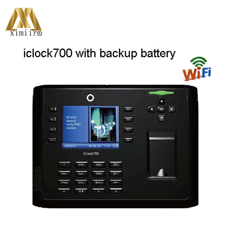Biometric WIFI Finger Print Time Recording Iclock700 Fingerprint Recognition Access Control Time Attendance With Backup Battery