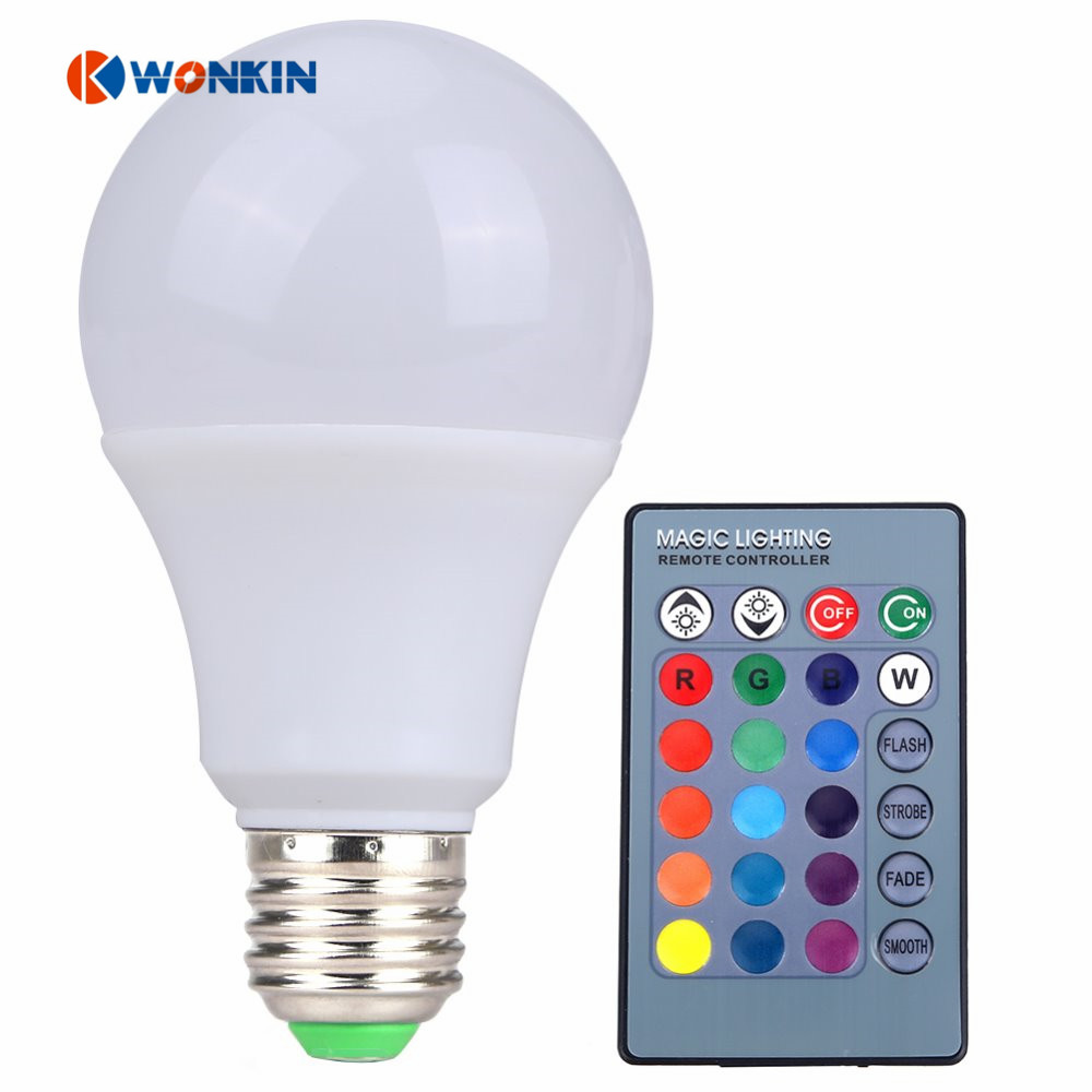 2PCS E27 RGB LED 5W LED RGB Light LED Bulb 85-265V SMD5050 16 Colors Chansing with IR Remote Controller