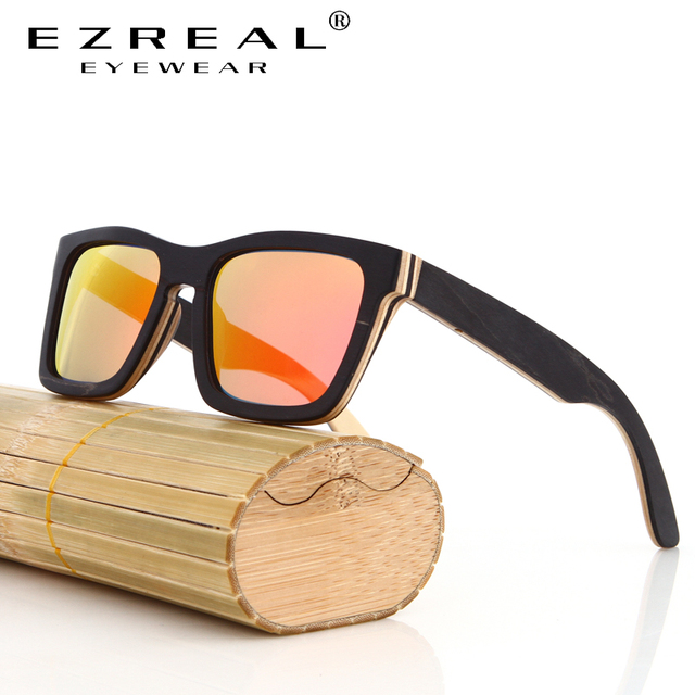 EZREAL TOP Black Wooden Sunglasses Handmade Natural Skateboard Wooden Sunglasses Men Women Wooden polarized sunglasses