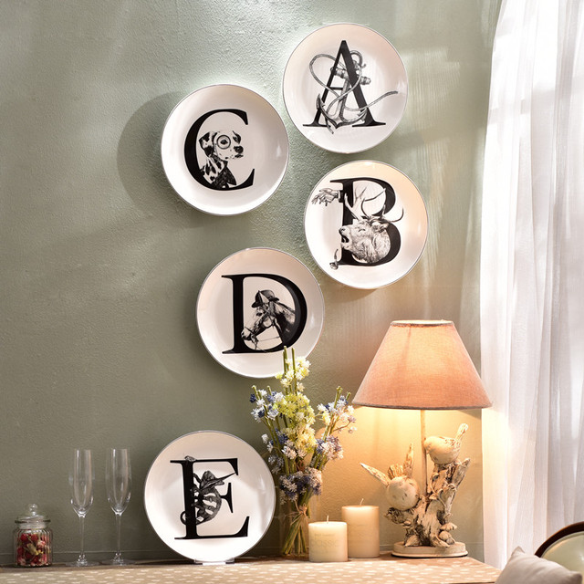 Nordic Style Ceramic Decorative Hanging Plates Animal English Letters Wall Hanging Living Room TV Wall Decoration & Nordic Style Ceramic Decorative Hanging Plates Animal English ...