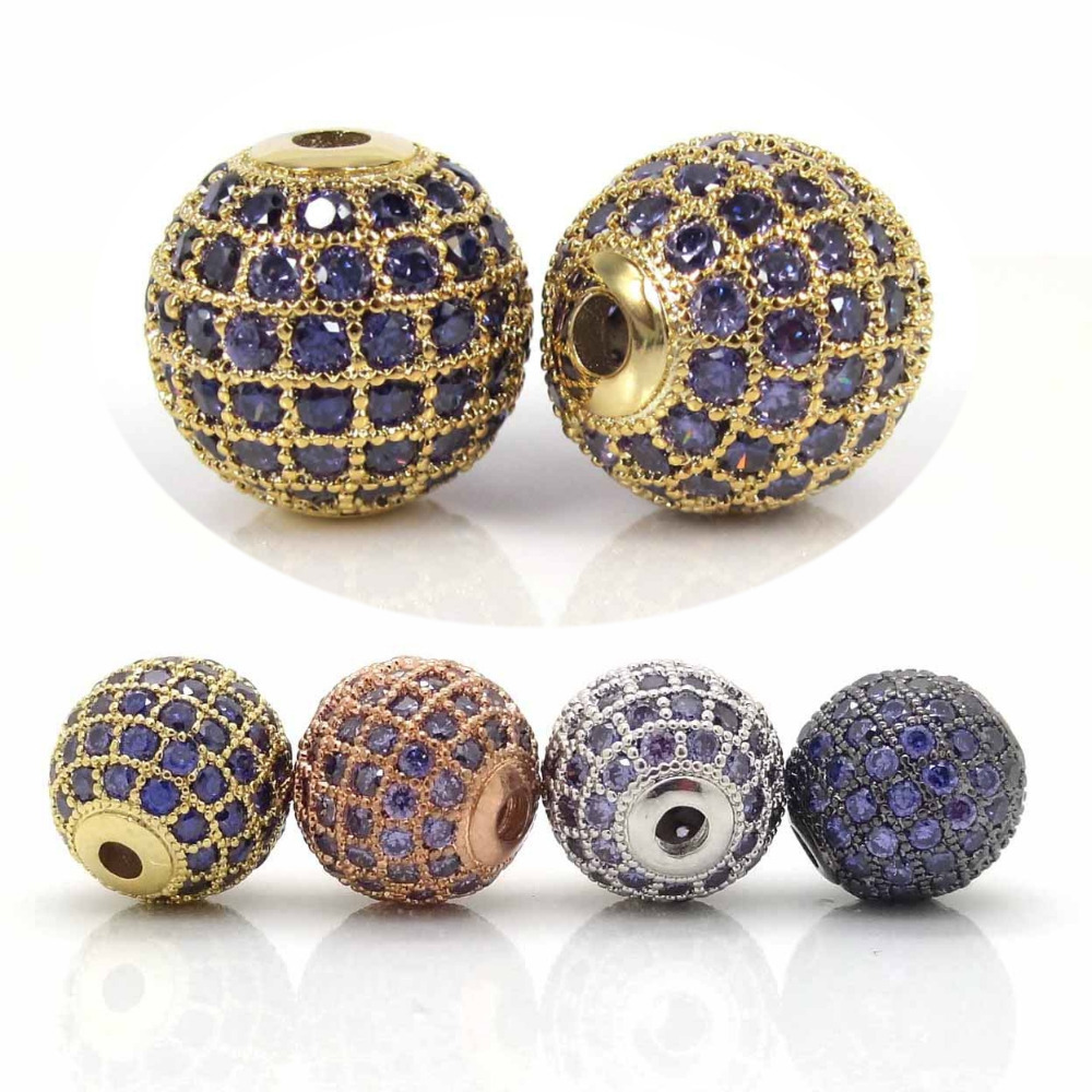 6 8 10 12mm GoldSilverBlackRose Gold Color Beads With Micro Pave