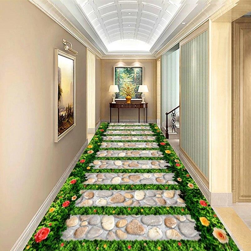 Custom 3D Floor Wallpaper Waterproof Self-adhesive Green Grass Flowers Stone Path Living Room Corridor Balcony Floor Sticker 3D