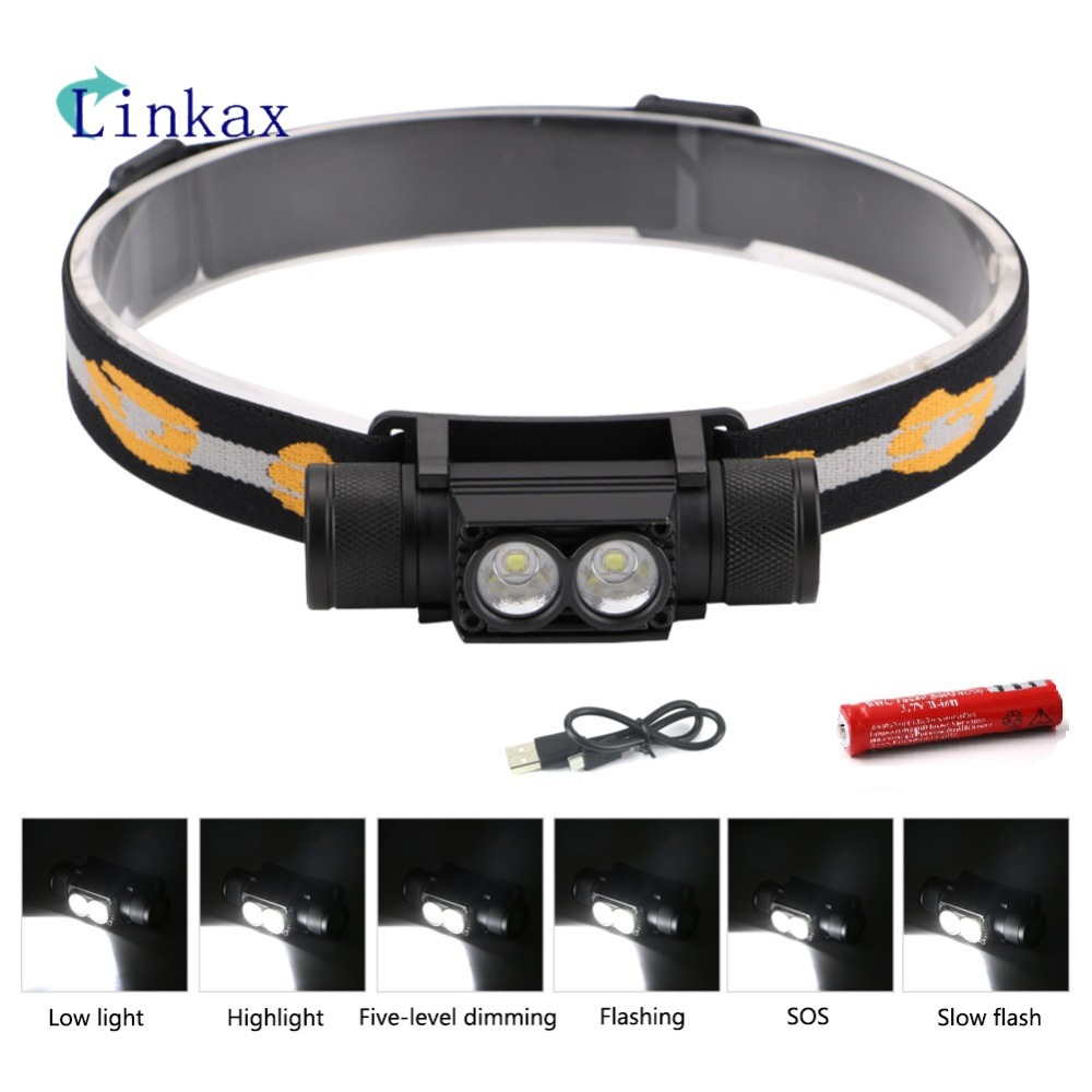 L2 LED Headlight 6 Modes Mini White Light Head Lamp Flashlight 18650 Battery Headlamp For Camping Fishing Hunting Light