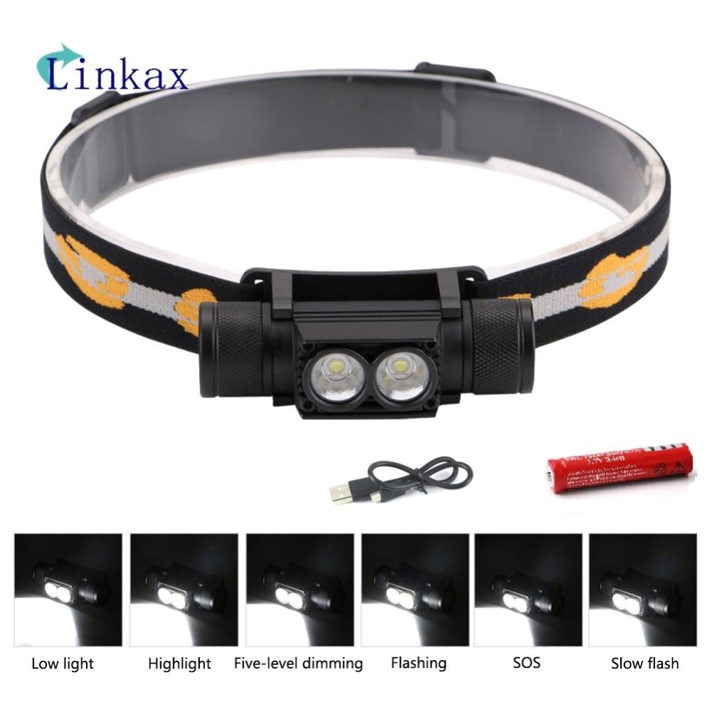 L2 LED Headlight 6 Modes Mini White Light Head Lamp Flashlight 18650 Battery Headlamp For Camping Fishing Hunting Light