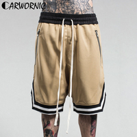 CARWORNIC Summer Casual Joggers Shorts Men Multi Pockets Large Elastic Hip Hop Shorts Male Fashion Drawstring Streetwear Shorts