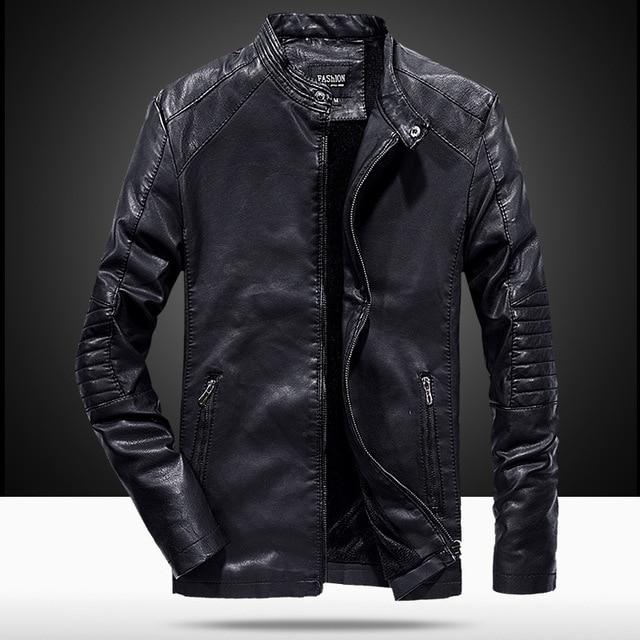 2018 Autumn New Fashion Stylish Veste Cuir Homme Slim Good Quality Stand  Collar Black Leather Jacket Men 8251852c23a