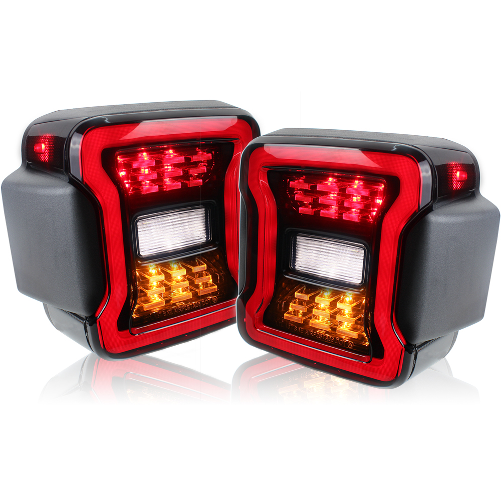 led tail lamp Car Light Euro Version Smoke For Jeep Wrangler JL 2018 2019 Rear Lamps Brake Reverse light Daytime Running Lights