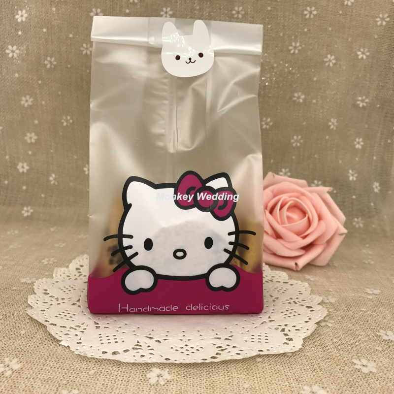 10pcs Cookie Packaging Plastic Bags Kitty Cat Self adhesive Bags For  Biscuits Snack Baking Package Party Baby Shower Favors -in Gift Bags    Wrapping ... 0017975fe30a5