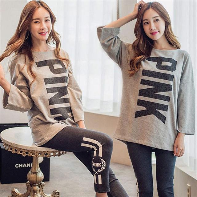 Las mujeres de manga larga pijama establece nueva primavera invierno 2016 de punto de algodón de las mujeres del ocio chándal ropa