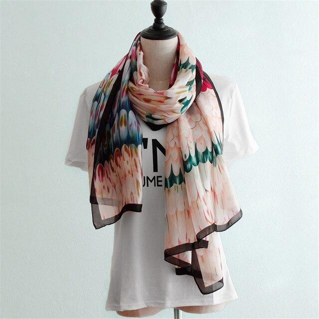 Новый дизайн женские шелковые шарфы перо печати Весна Осень тонкий высококачественный женский длинный шарф платки femme