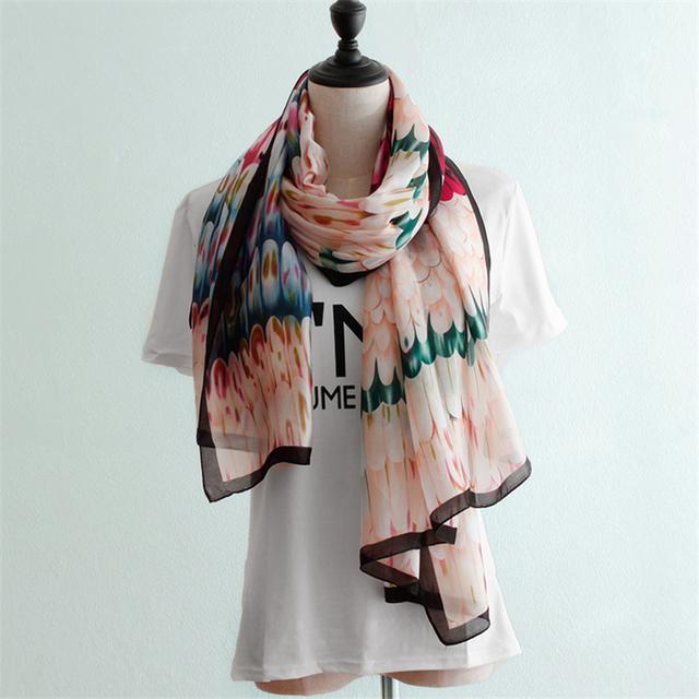 Novo design das mulheres lenços de seda pena imprimir Primavera Outono fina alta-grade feminino longo cachecol foulard femme