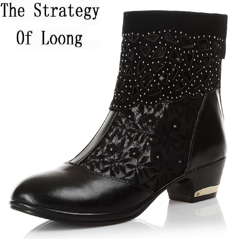 Women Lace Rhinestones Mid Heels Cut Out Mesh Ankle Boots Lady Hollow Genuine Leather Open The
