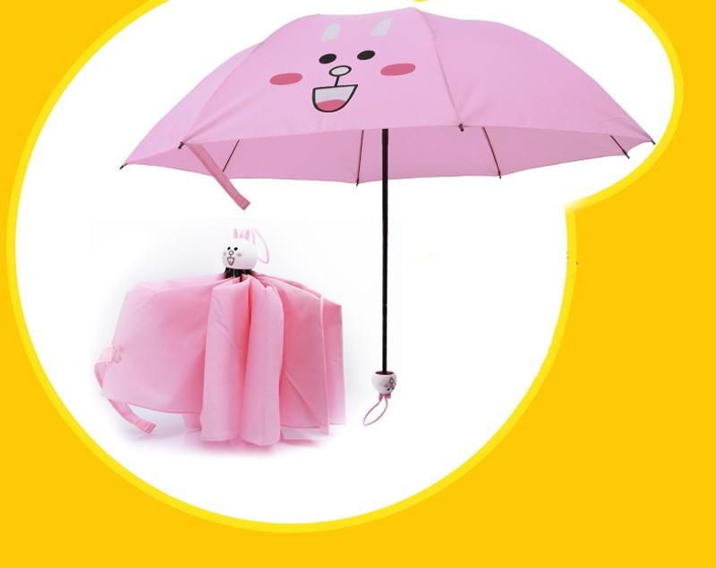 Creative Cute Cartoon Bear Rabbit Totoro Villain Children Umbrella 3 Folding Pongee Windproof Rain Umbrella For Kids9