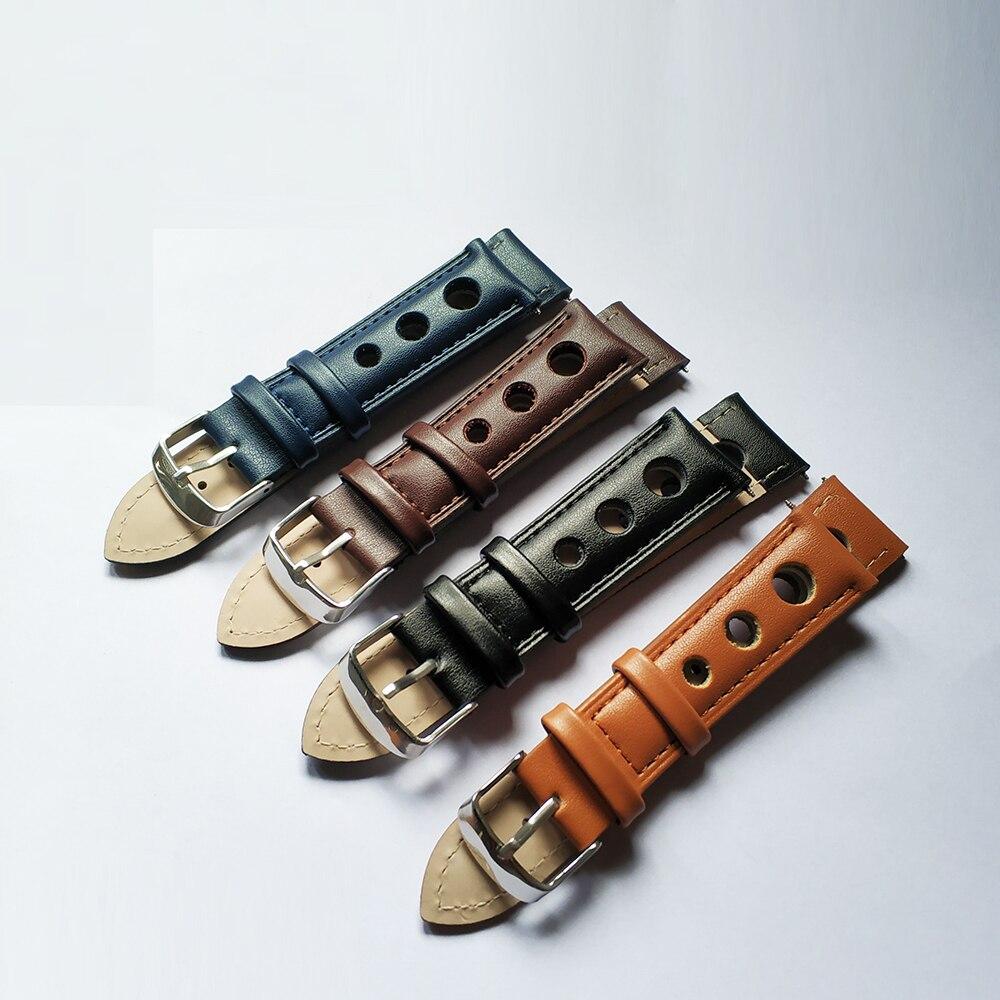 Watch Strap Band Genuine Leather 18mm 20mm 22mm Watchbands Black Brown Blue Men Bracelet Blet Accessories Steel Buckle KZ3H04