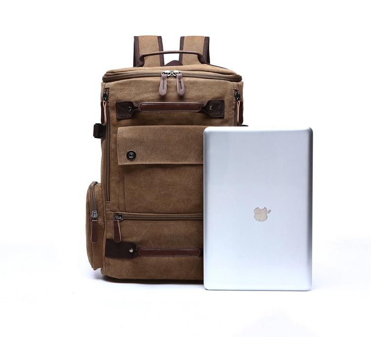 Men Laptop Backpack 15 Inch Rucksack Canvas School Bag Travel Backpacks for Teenage Male Notebook Bagpack Computer Knapsack Bags 20