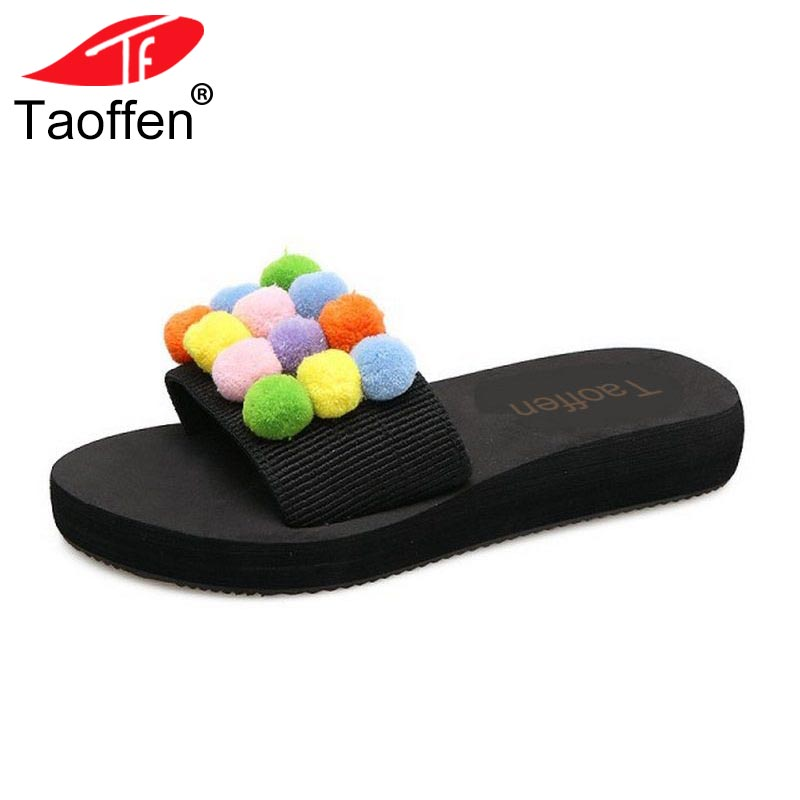 TAOFFEN Fashion Women Thick Platform Shoes Women Sweety Pompon Peep Toe Slippers Women S ...