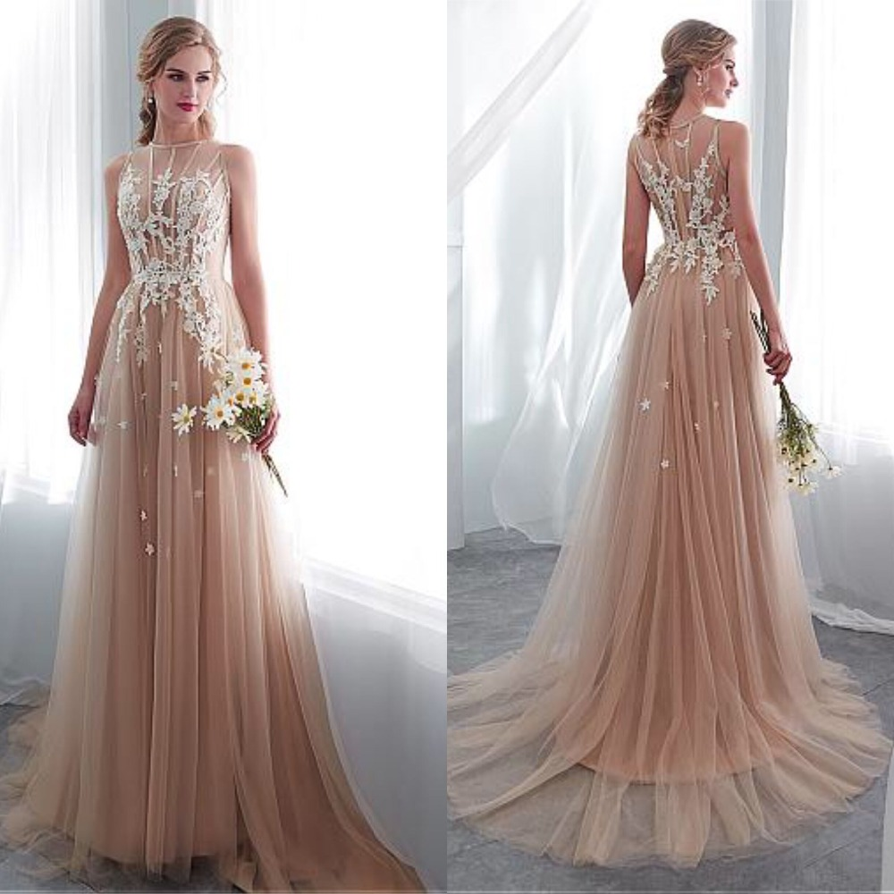 In Stock Delicate Tulle Jewel Neckline See-through Bodice A-line Wedding Dress With Lace Appliques Dark Champagne Bridal Dress