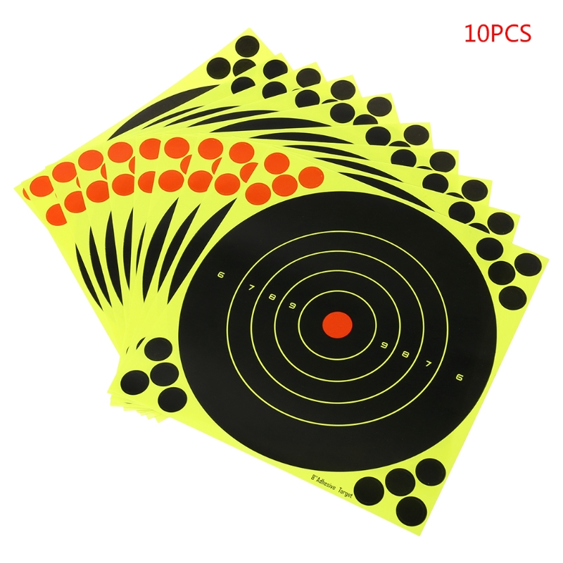 10Pcs/Set Adhesive Target Shooting Sticker Fluorescent Splash Flower 8x8'' Objective