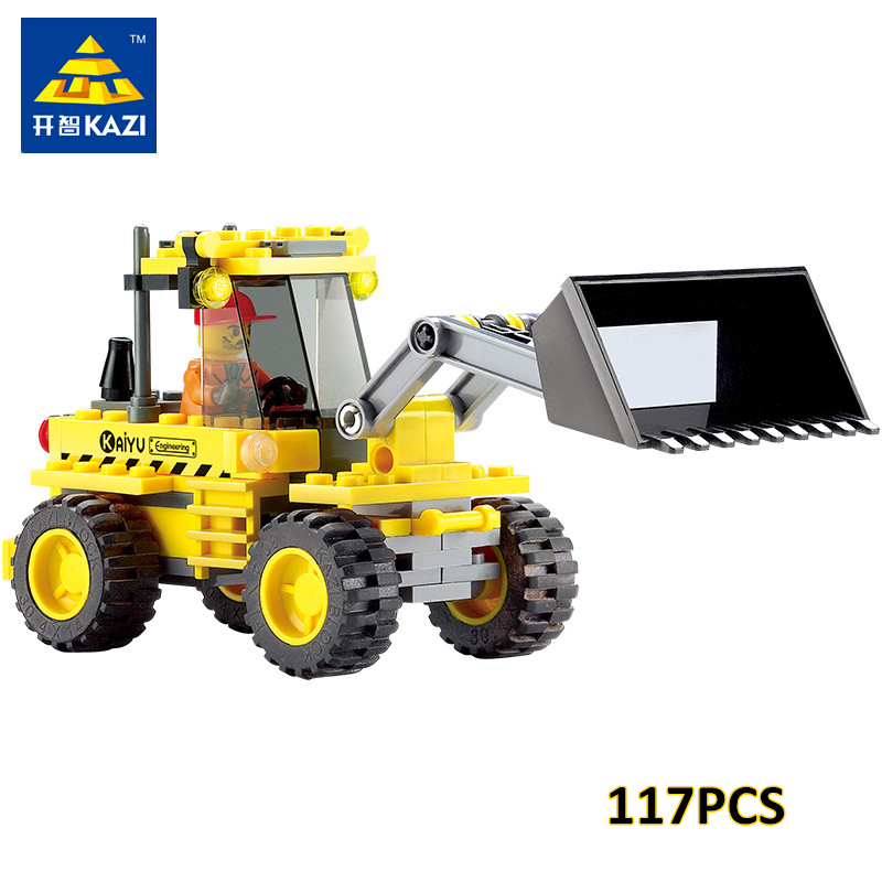 KAZI 8042 DIY Kids Toy Bulldozer Excavator Model Playmobile Building Blocks Brick Compatible with lego umeile brand farm life series large particles diy brick building big blocks kids education toy diy block compatible with duplo