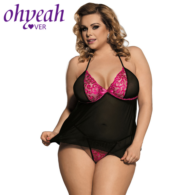 Ohyeahlover Sexy Babydoll Plus Size With G String Mesh Transparent Porno <font><b>Lenceria</b></font> <font><b>Sexi</b></font> <font><b>Para</b></font> <font><b>Mujer</b></font> Backless Erotic Nightwear image