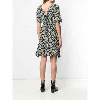 Woman Silk PAISLEY Print Short DRESS Asymmetric Hem with Ruffles Short Sleeved Creased Waist Zipper bACK