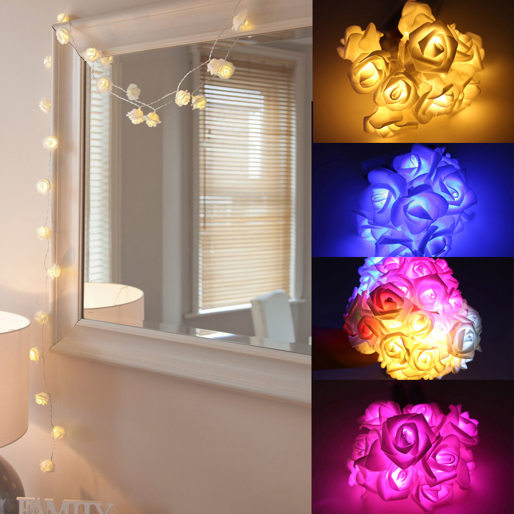 FGHGF 10 LED Flory Rose Light Cozy String Fairy Lights For Bedroom Xmas Wedding Party Fairy Lights Christmas Light AA Battery