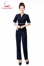 Foot bath and pedicure work clothes female technician pantsuit 2019 new sexy temperament beautician workwear