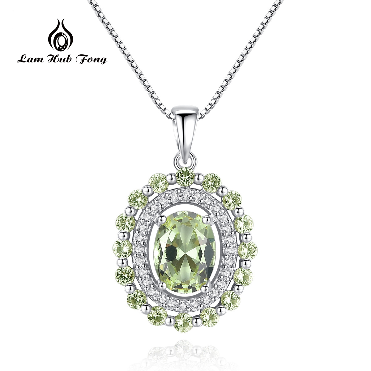 Natural Oval Green Peridot Pendant Necklace With 45cm Box Chain 925 Sterling Silver Classic CZ Fine Jewelry Wholesale