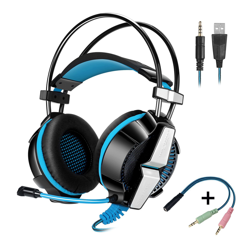 2017 Headset Gaming Earphone PC Gamer Headphone With Microphone For Computer PS4 Headset With Mic Light 1 To 2 3.5mm Splitter image
