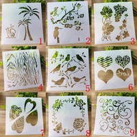 9pc/set Bullet Journal Templates Reusable Painting Hollow Flower Stencils For Diy Scrapbooking Stencil For Painting Decoration