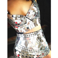 Bar gogo handmade silver lens high waist leather pants lens shorts sequin costume nightclub women Stage performance set