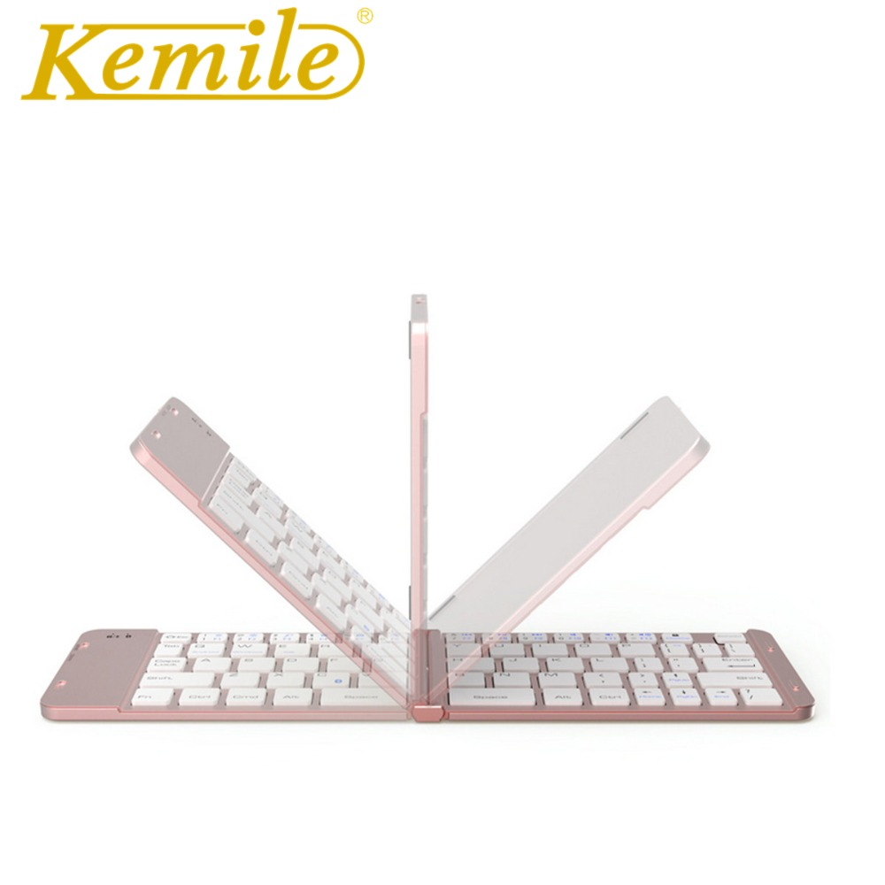 Kemile Folding Portable Universal Wireless Bluetooth Keyboard for surface pro 3/4/5 Foldable Small Keyboard for Windows System