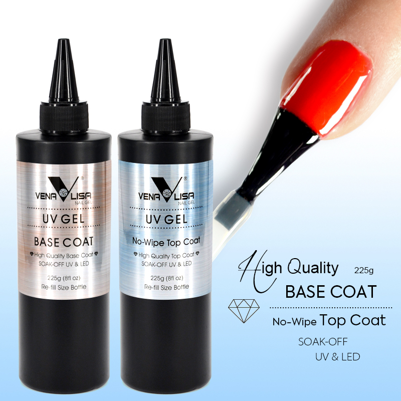 Venalisa Factory 225g Bulk Package Soak Off Primer Base Coat Non-Cleaning Top Coat Soak Off Matte Top Coat Tempered UV/LED Gel cnd big size soak off cnds shellac base 12 5ml top coat 15ml xpress 5 top coat 15ml