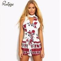 Hollow Out Boho Red Floral Print Elegant Jumpsuit Romper 2017 Summer Style Halter Short Playsuit Women